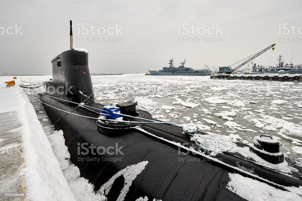 Small Submarine In The Winter Port Stock Photo - Download