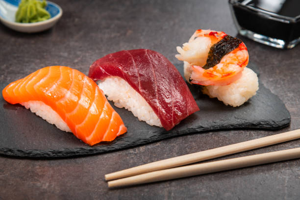 Small sushi set in restaurant stock photo