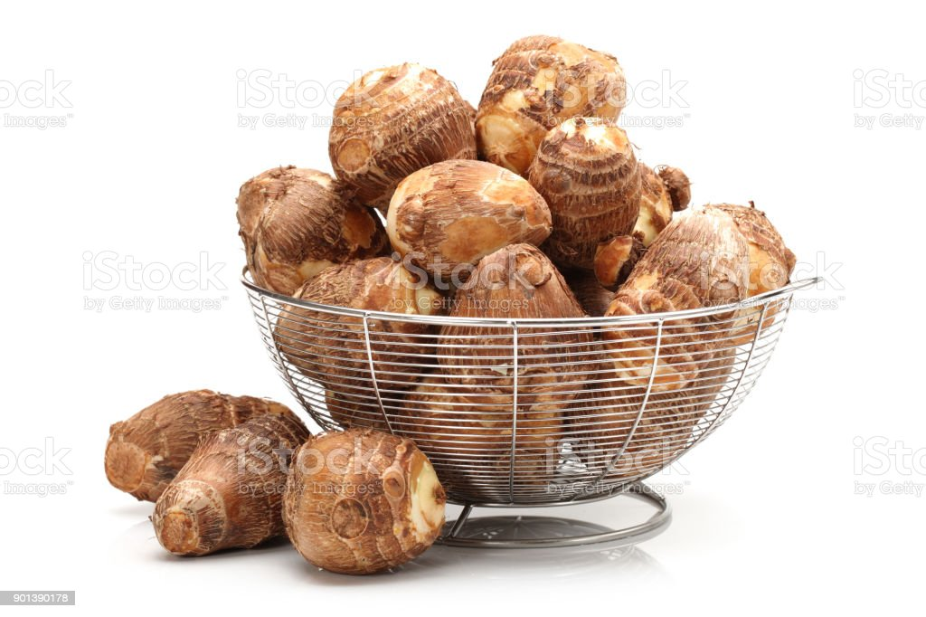 small  taro potatoes isolated on white background stock photo