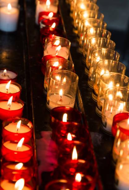 Small tea candle burning in church