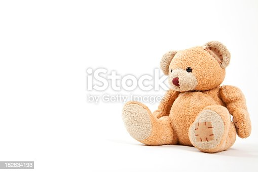 istock Small teddy bear isolated on white  182834193