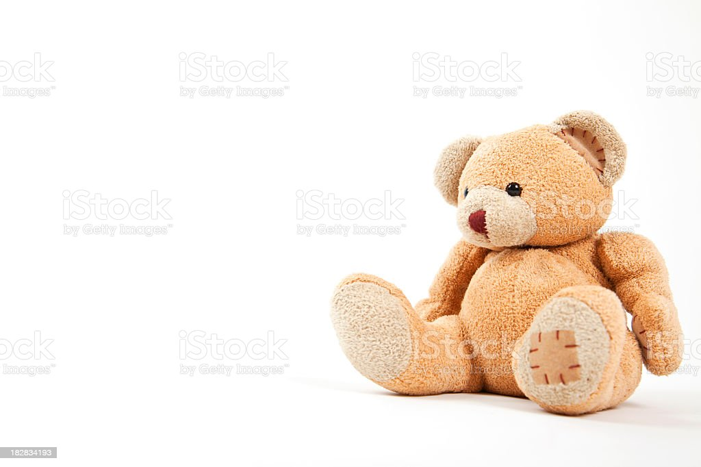 Small teddy bear isolated on white  stock photo