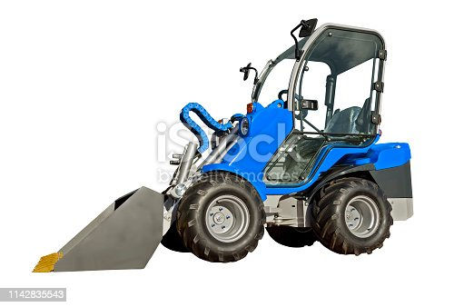 Small  telescopic handler isolated on a white background