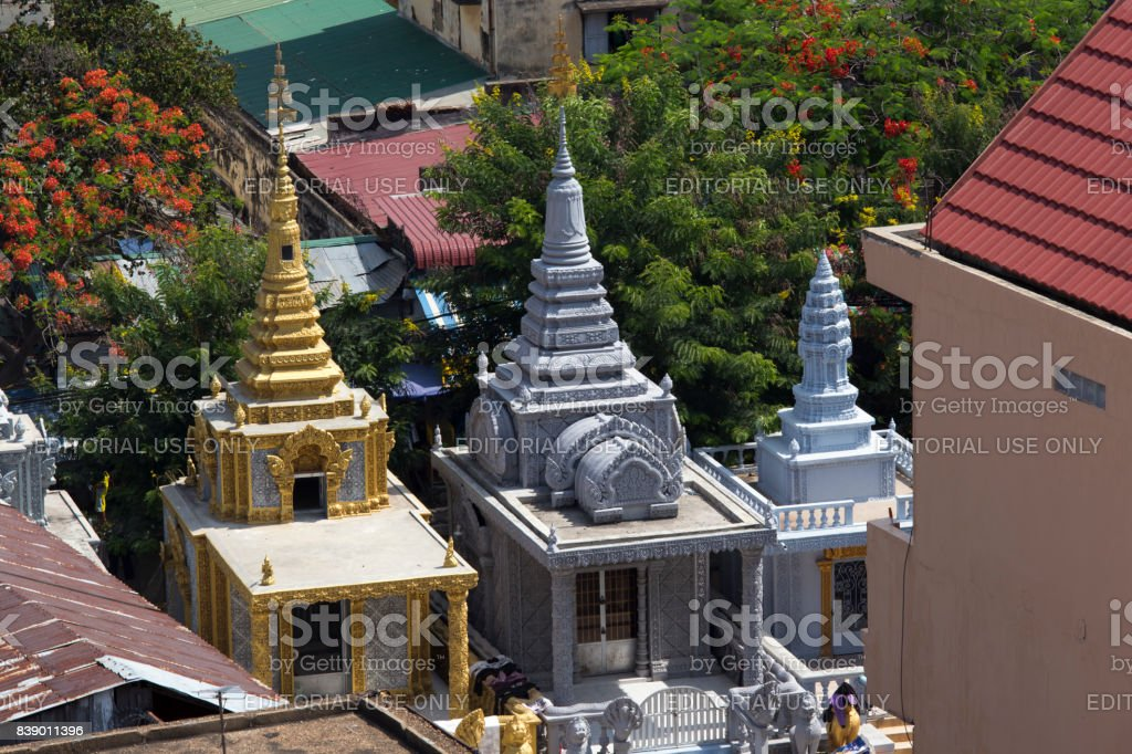 Small temples in Phnom Phen stock photo