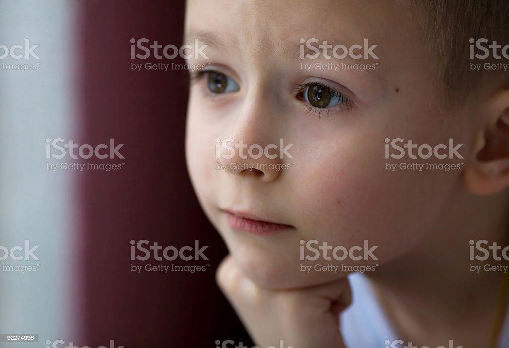 Small thoughtful boy royalty-free stock photo