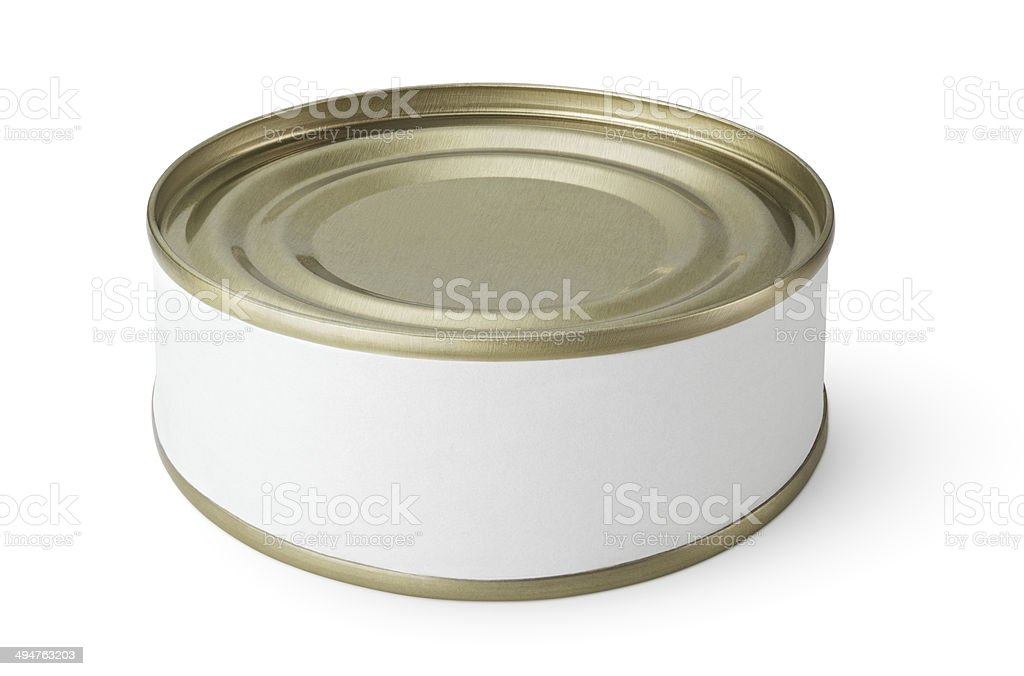 Small tin can isolated on white stock photo