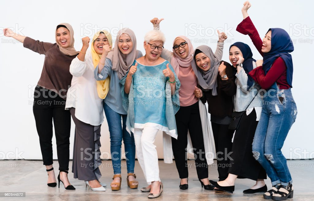 Small to medium group of woman with cheerful attitude. stock photo