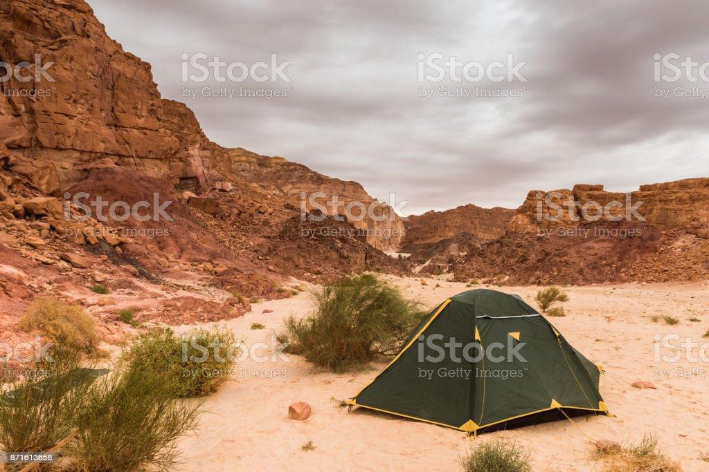 small touristic tent in desert stock photo