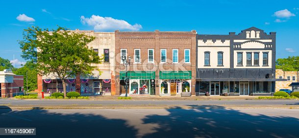 Downtown stores in small town Tennessee.