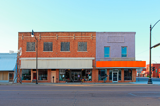 Lonely and empty streets and storefronts of Sayre, Oklahoma. A representation of classic small town America.