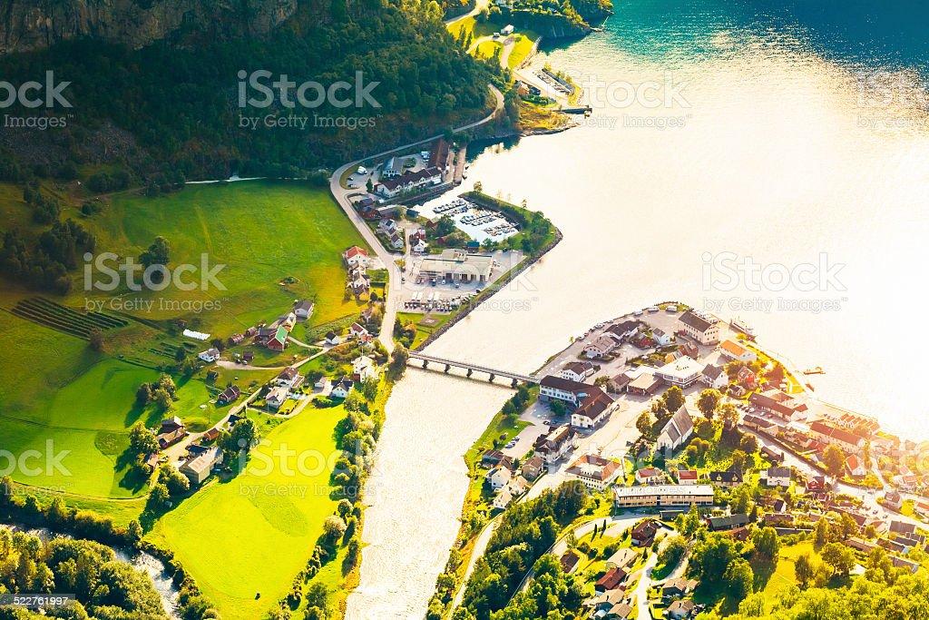 Small Town And Cruise Port Aurlandsvangen In Norwegian Fjords. V stock photo