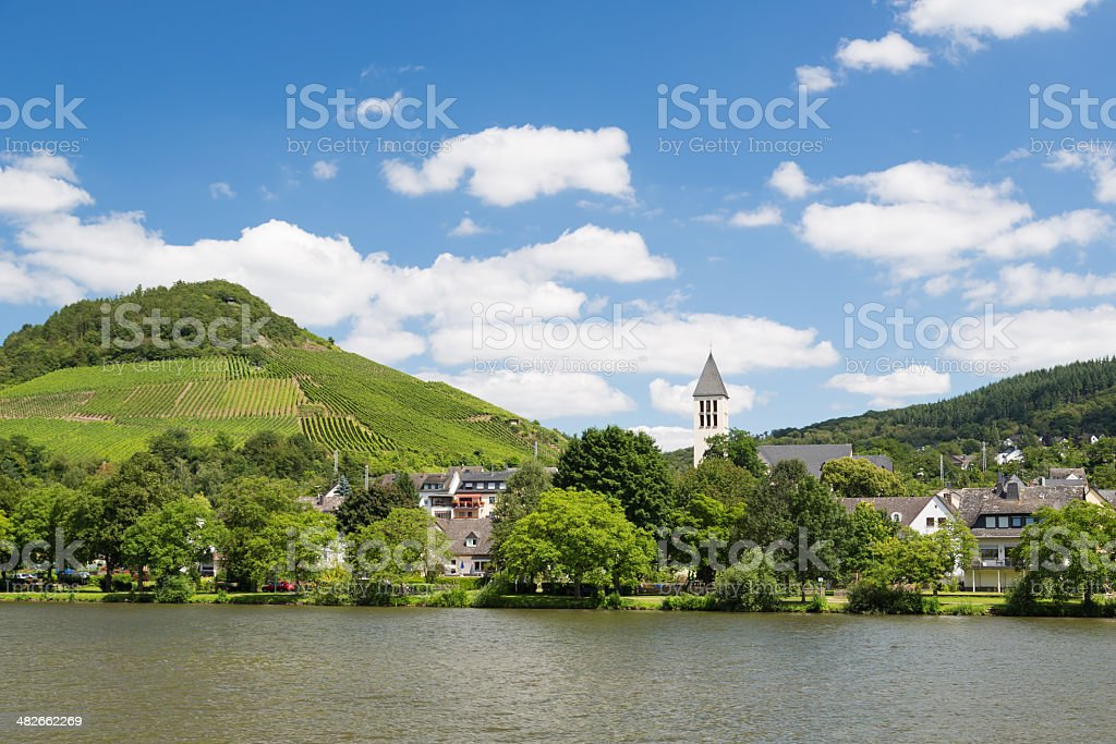 Small town Bullay along river Moselle in Germany stock photo