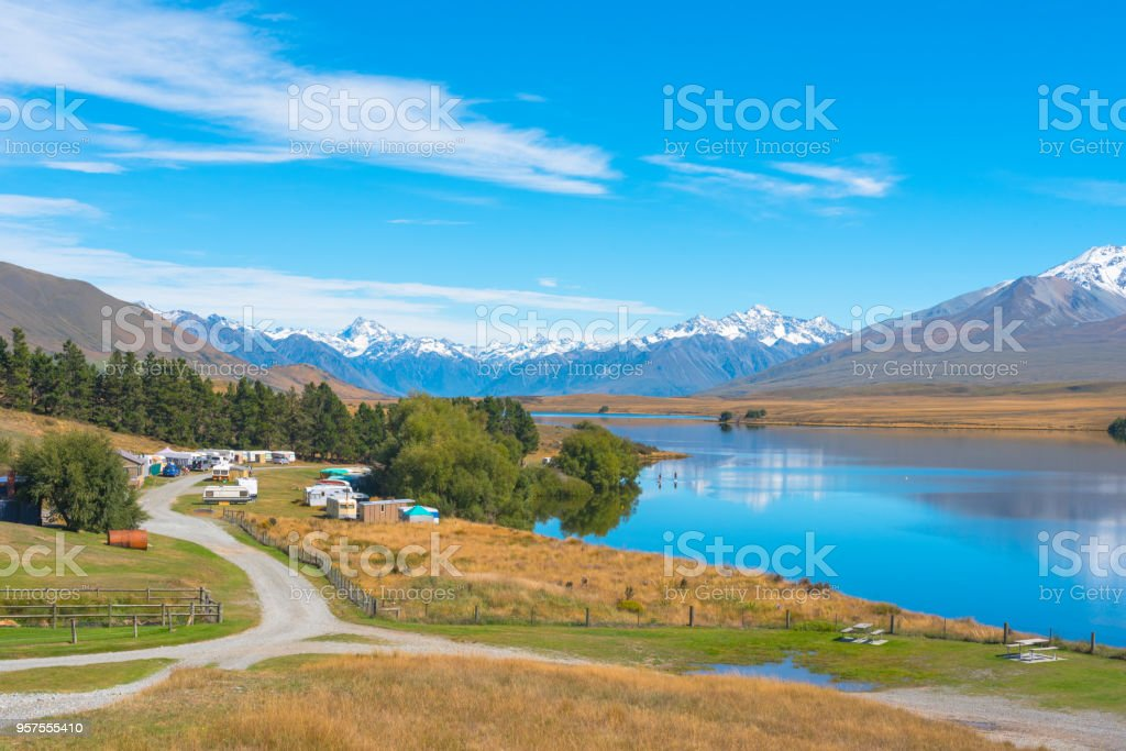Small Town by a Lake stock photo