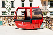 istock Small town called Mountain Village in Colorado with red gondola cable car 1182720146