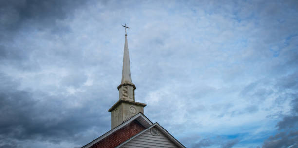 small town church steeple - church stock photos and pictures