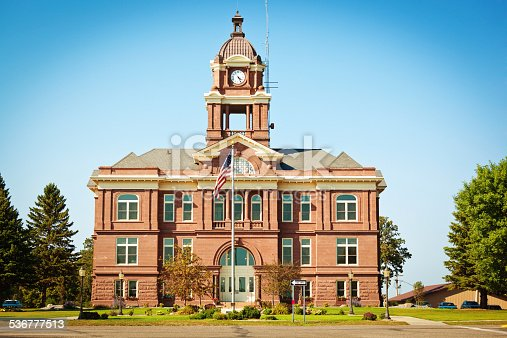 Subject: A small town city hall in the United States, where local government take place.
