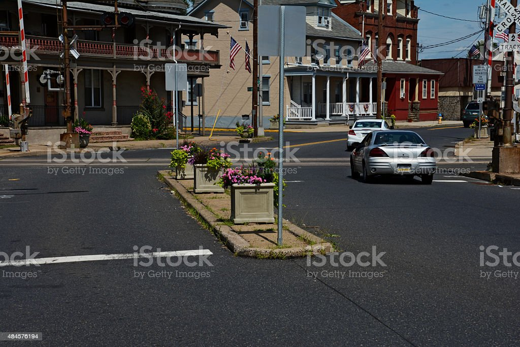 Small Town Cross Road stock photo