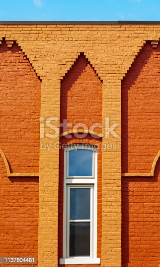 istock Small Town Decorative Brick Buildings 1137804461