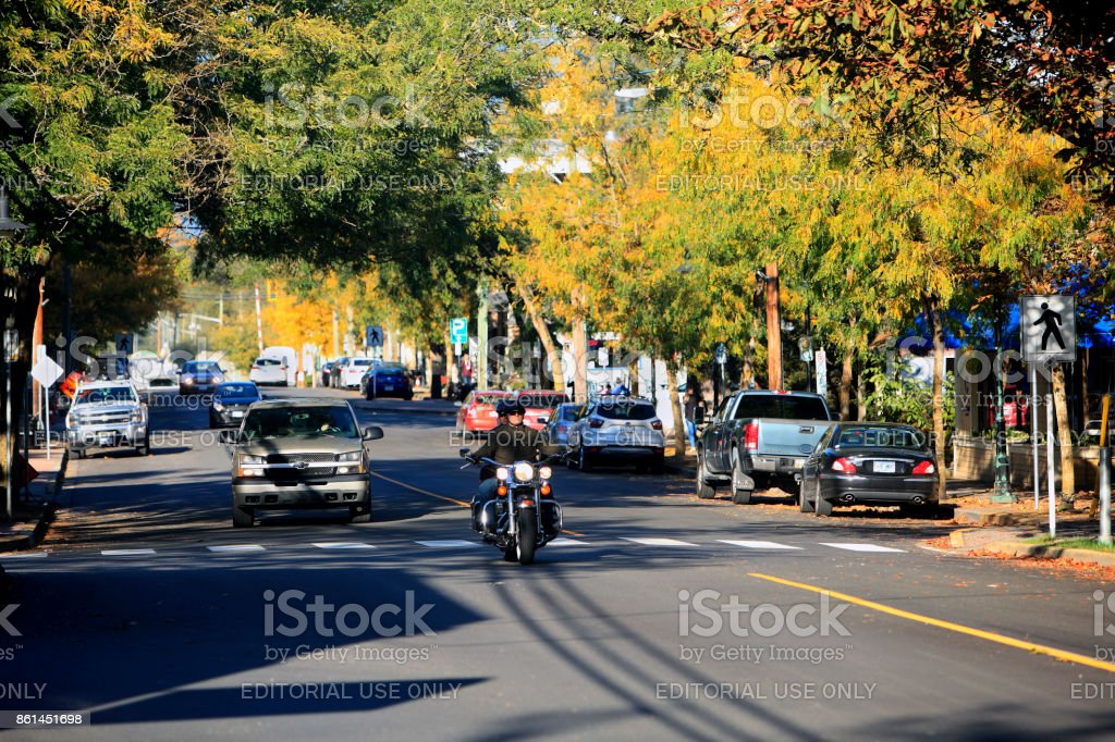 Small Town Fort Langley Main Street In Autumn stock photo