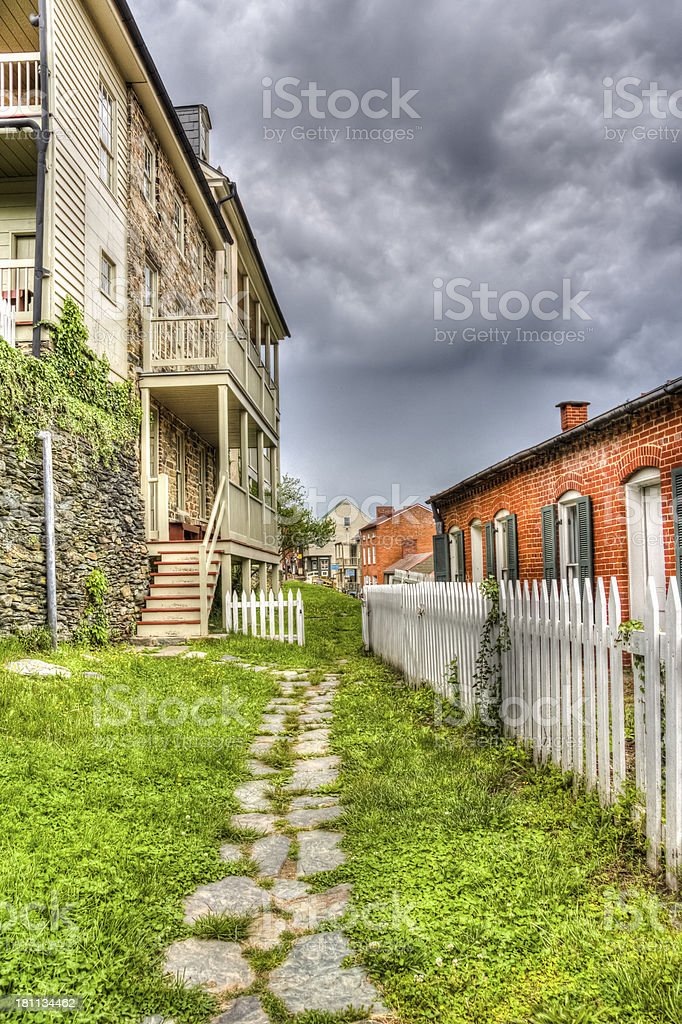 Small Town, Garden Path and Storm Clouds  HDR stock photo