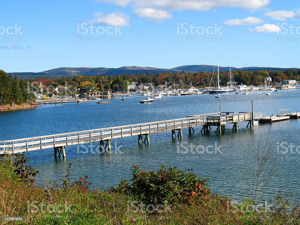 Small Town Harbor – Mount Desert Island, Maine royalty-free stock photo