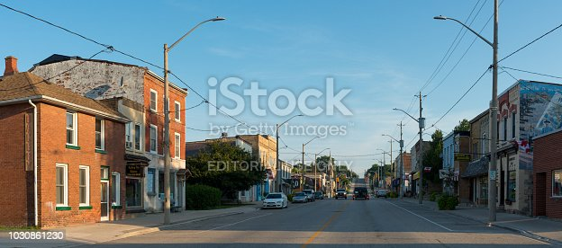 Durham, ON, Canada - Sep 1, 2018: The main street of Durham in early morning. The community traces its history back to the early 19th century.