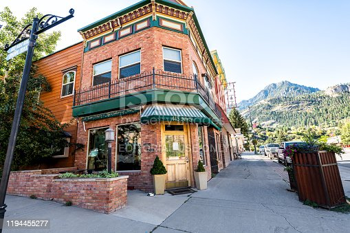 Ouray, USA - September 13, 2019: Small town in Colorado with city main street and wide angle view of art gallery sign historic architecture building