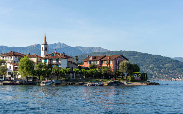 Small town in the Italian Lakes area, accessible easily by small boat or ferry. The bell tower stands in the center of town. stock photo