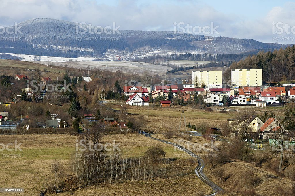 Small town in the mountains royalty-free stock photo