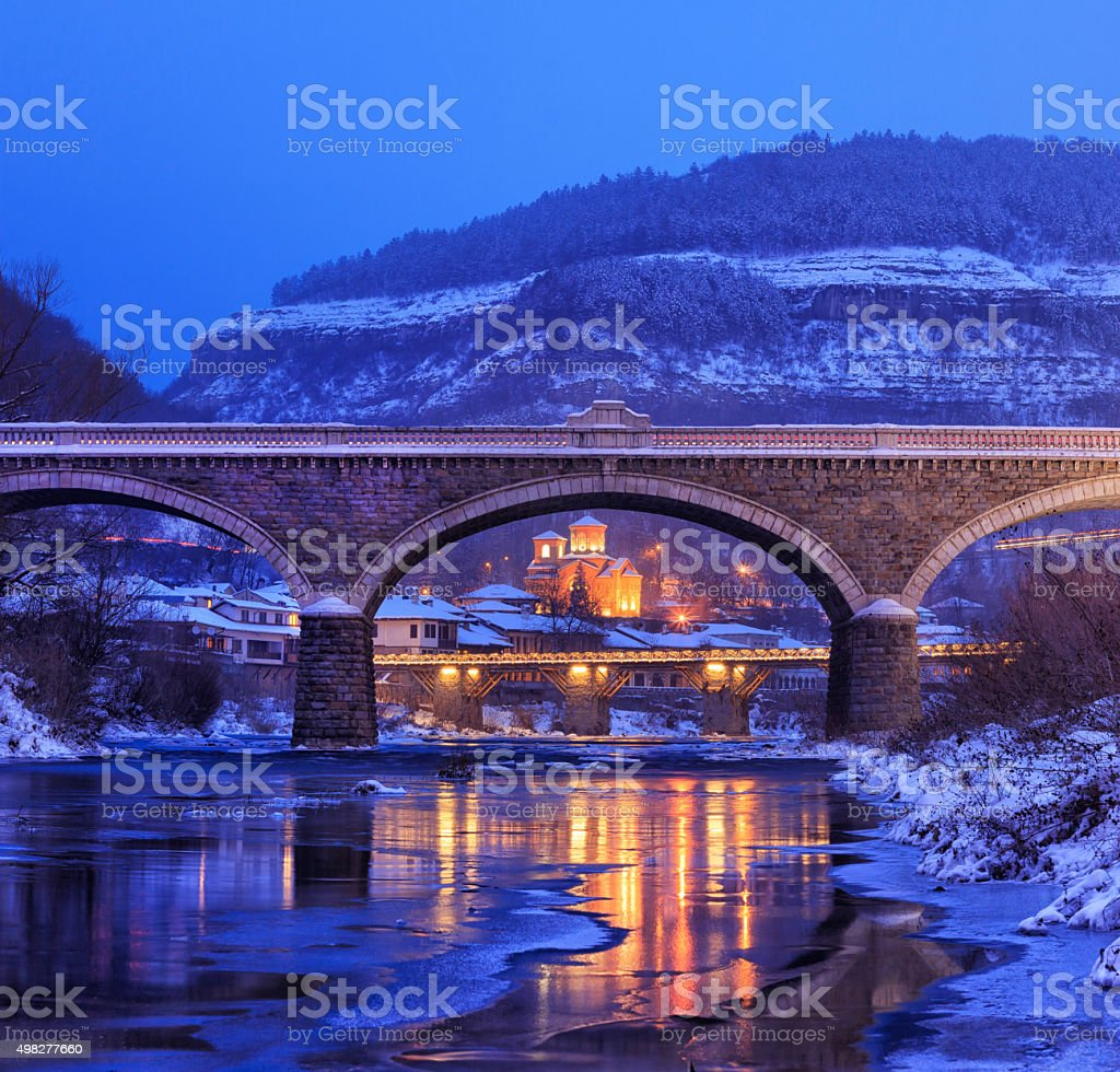 Small town in winter stock photo