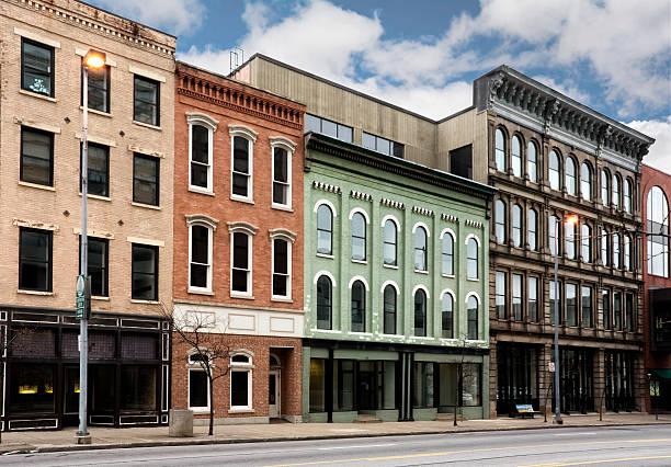 Small Town Main Street stock photo