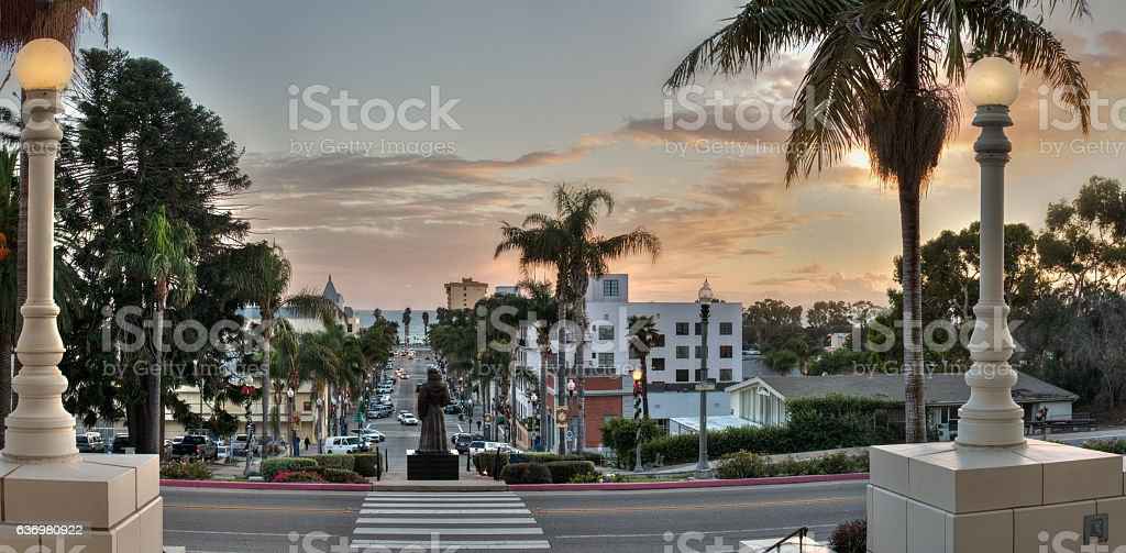 Small town nightlife as sun begins to set. stock photo
