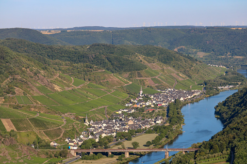 small town of Ediger-Eller in the Mosel valley in the evening sun, Calmont region, Germany