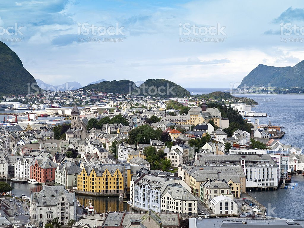A small town on a island in Alesund, Norway royalty-free stock photo