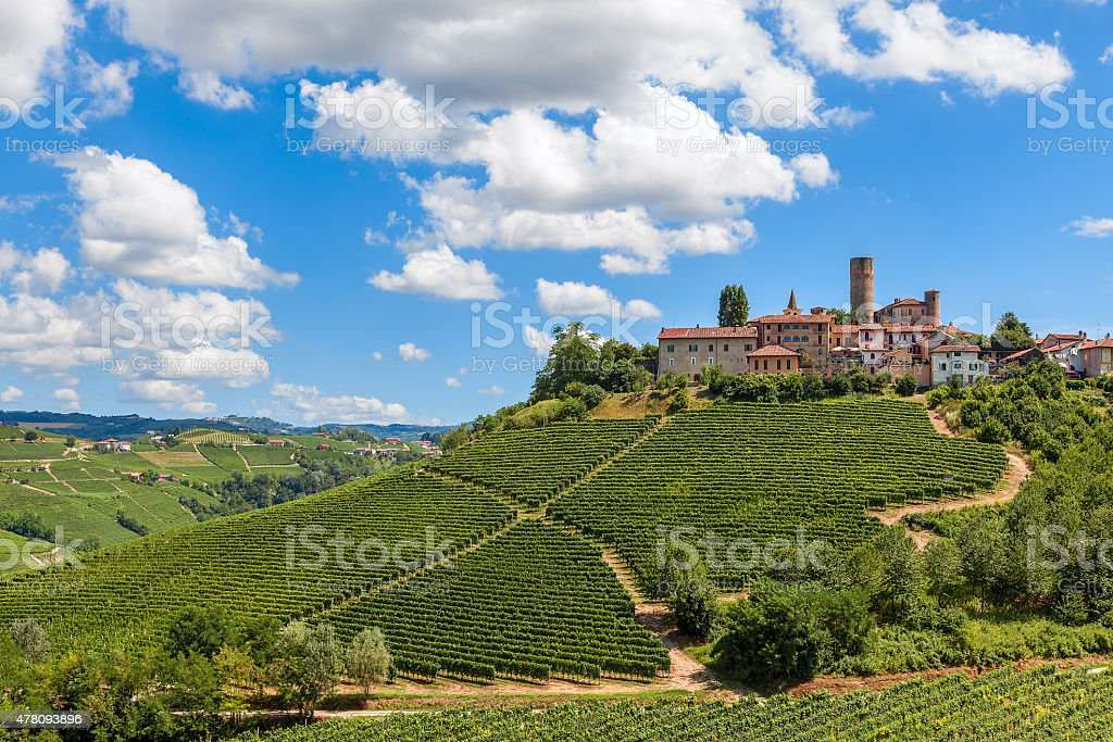 Small town on the hill. stock photo