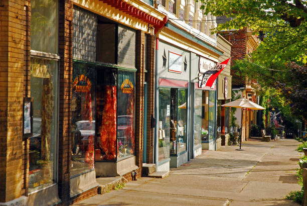 Small town shopping in the Hudson Valley stock photo