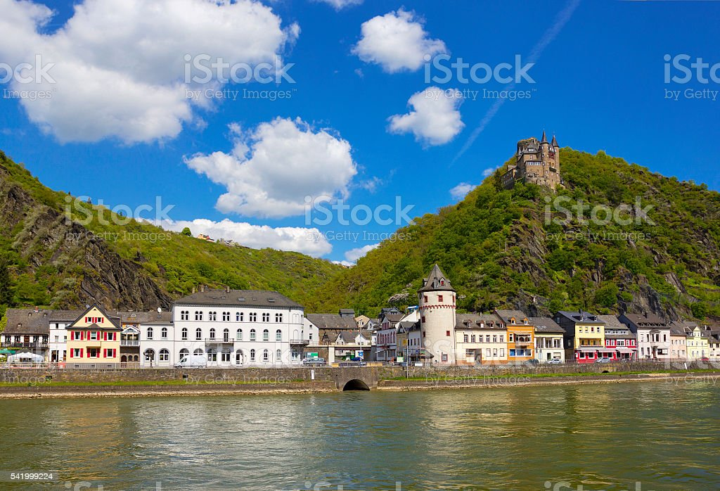 Small town St. Goarshausen, Germany with Katz Castle above it stock photo