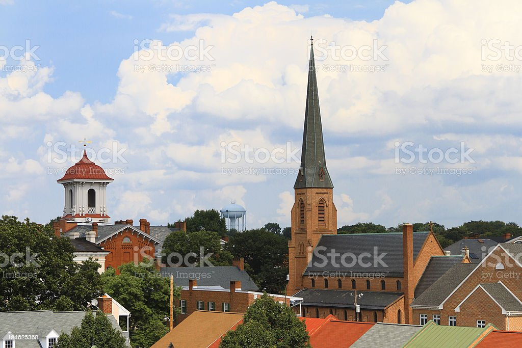 Small Town Steeples and Rooftops stock photo