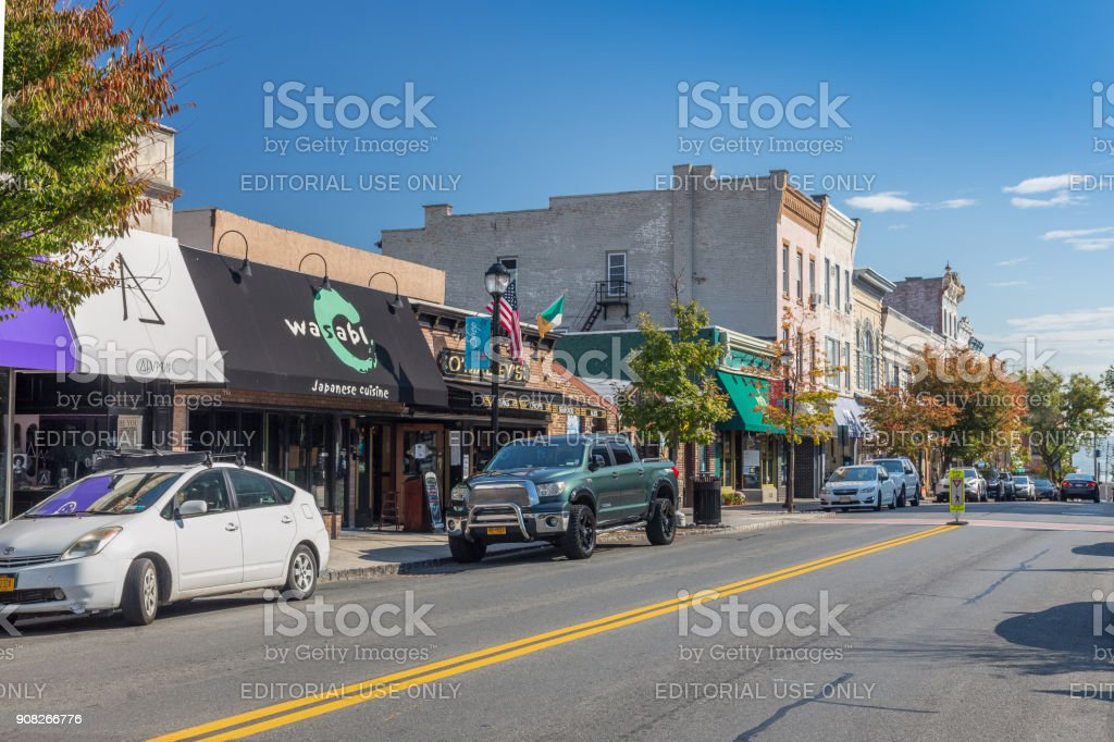 Small Town Street Lined with Stores and Restaurants, Nyack, Rockland County, Hudson Valley, New York. stock photo