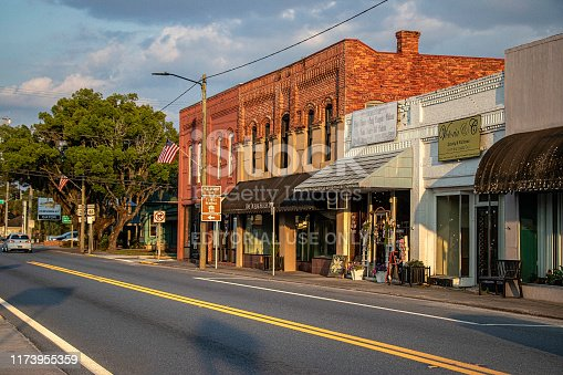 Jasper, Florida - May 17, 2019: A few shops struggle to stay open between empty buildings in a once-booming downtown business district along U.S. Route 41.
