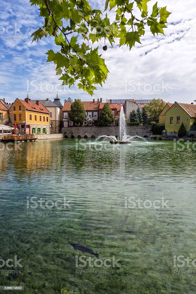 Small town Tapolca (Hungary) stock photo
