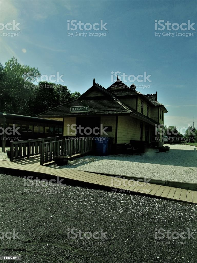Small Town Train Station stock photo
