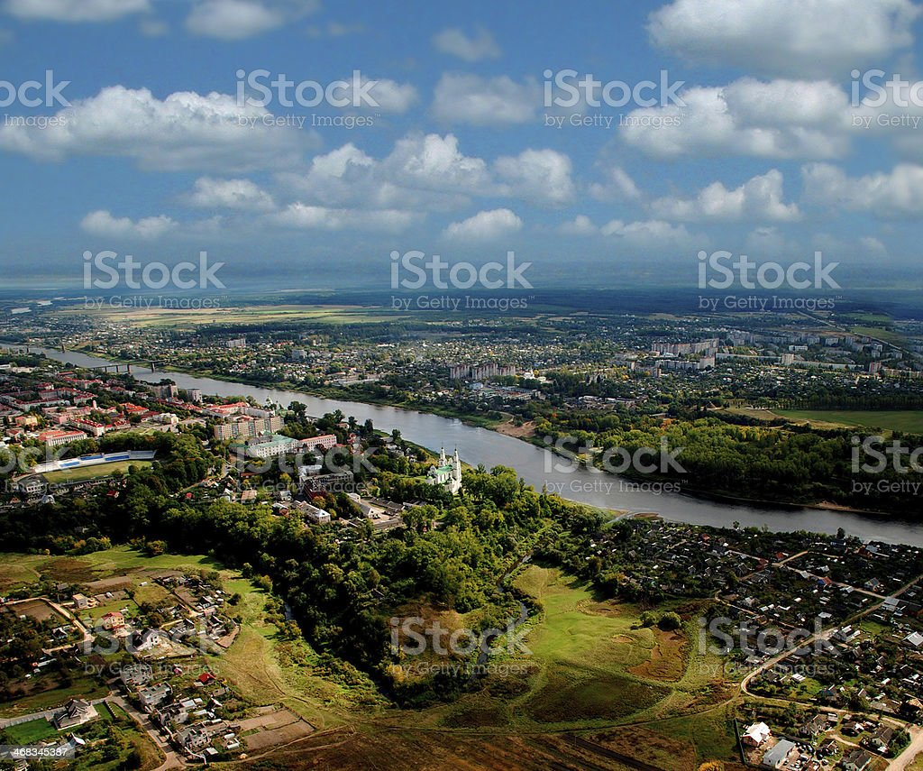 Small town village view from above royalty-free stock photo