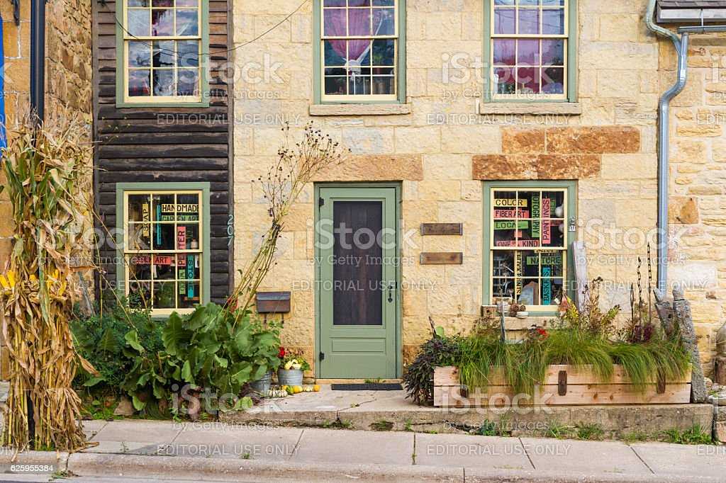 Small Town WIndows stock photo