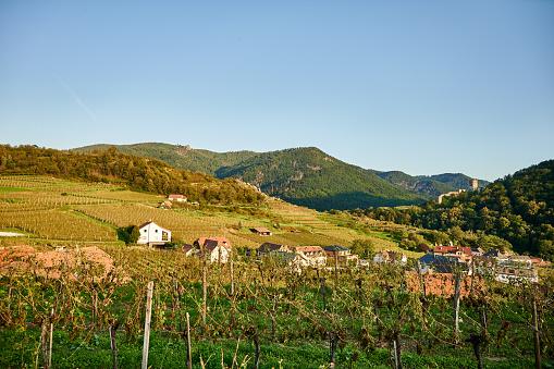 Shot of a quaint countryside town in Austria