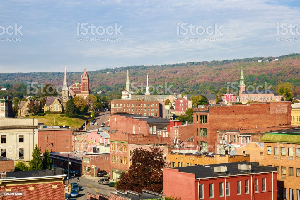 Small Town With Many Steeples, Buildings and Rooftops -- Cumberland Maryland stock photo