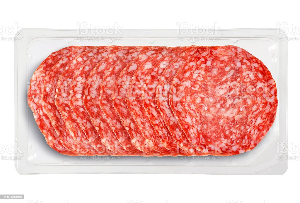 Small Tray Packaged of Presliced Salame stock photo