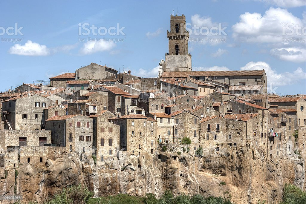 Small Tuscany Village On Cliff royalty-free stock photo