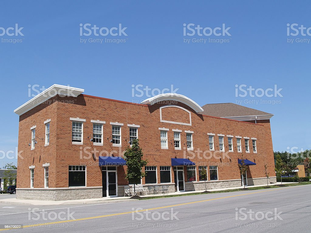 Small Two Story Brick Store Front royalty-free stock photo