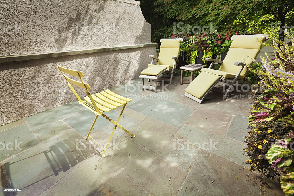 Small Urban Patio And Garden Landscaping And Design Stock Photo